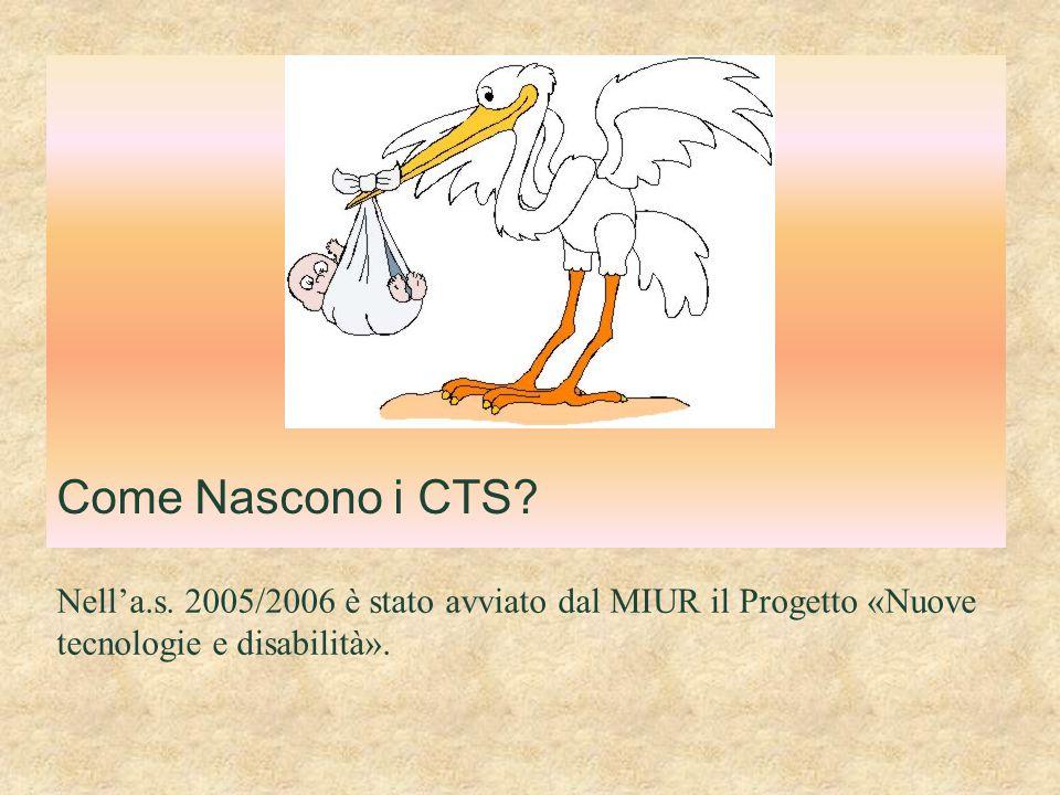 Come Nascono i CTS? Nell'a.s. 2005/2006 è stato avviato dal MIUR il Progetto «Nuove tecnologie e disabilità».