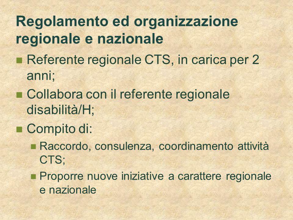 Regolamento ed organizzazione regionale e nazionale Referente regionale CTS, in carica per 2 anni; Collabora con il referente regionale disabilità/H;
