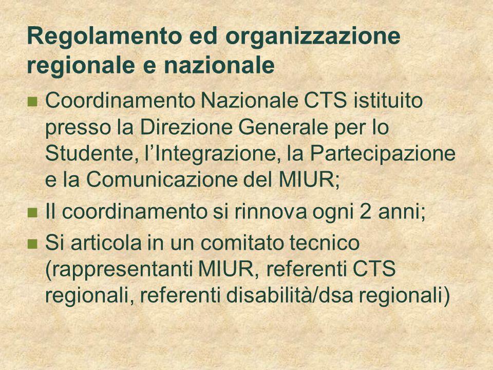 Regolamento ed organizzazione regionale e nazionale Coordinamento Nazionale CTS istituito presso la Direzione Generale per lo Studente, l'Integrazione