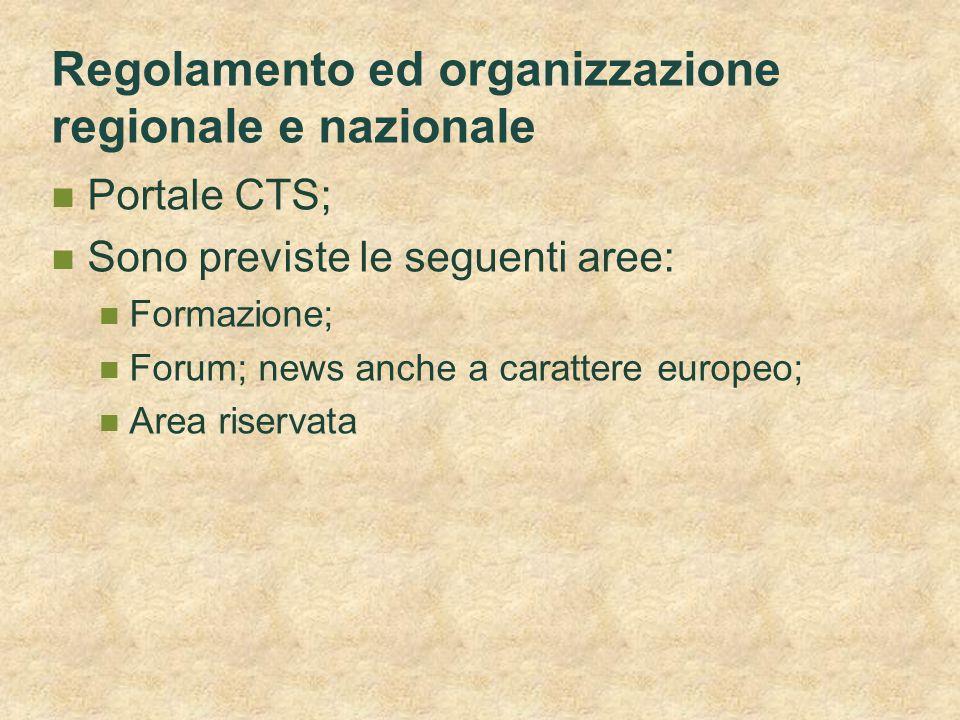 Regolamento ed organizzazione regionale e nazionale Portale CTS; Sono previste le seguenti aree: Formazione; Forum; news anche a carattere europeo; Ar