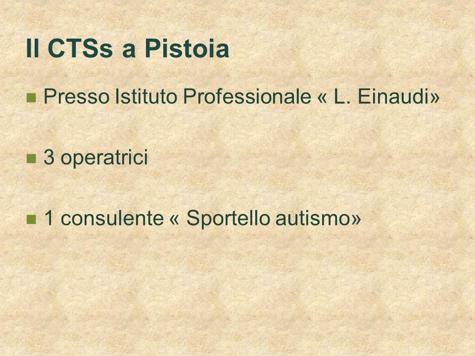 Il CTSs a Pistoia Presso Istituto Professionale « L. Einaudi» 3 operatrici 1 consulente « Sportello autismo»
