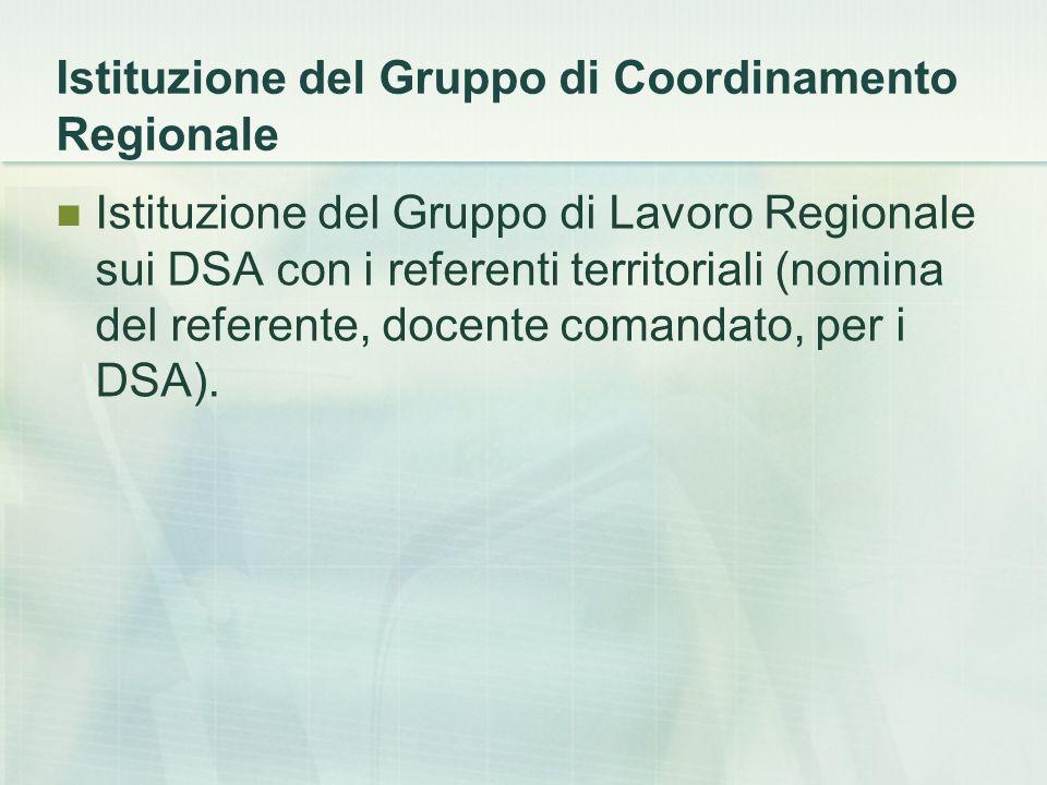 Istituzione del Gruppo di Coordinamento Regionale Istituzione del Gruppo di Lavoro Regionale sui DSA con i referenti territoriali (nomina del referent