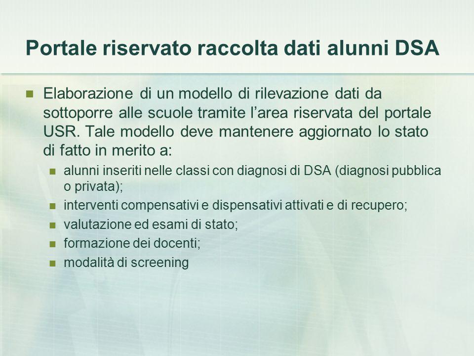 Portale riservato raccolta dati alunni DSA Elaborazione di un modello di rilevazione dati da sottoporre alle scuole tramite l'area riservata del porta