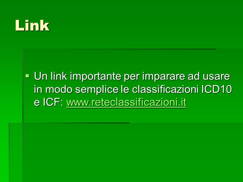 Link  Un link importante per imparare ad usare in modo semplice le classificazioni ICD10 e ICF: www.reteclassificazioni.it www.reteclassificazioni.it
