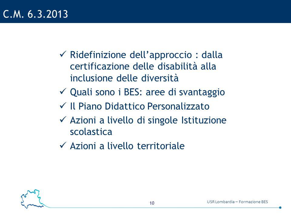 10 USR Lombardia – Formazione BES C.M. 6.3.2013 Ridefinizione dell'approccio : dalla certificazione delle disabilità alla inclusione delle diversità Q