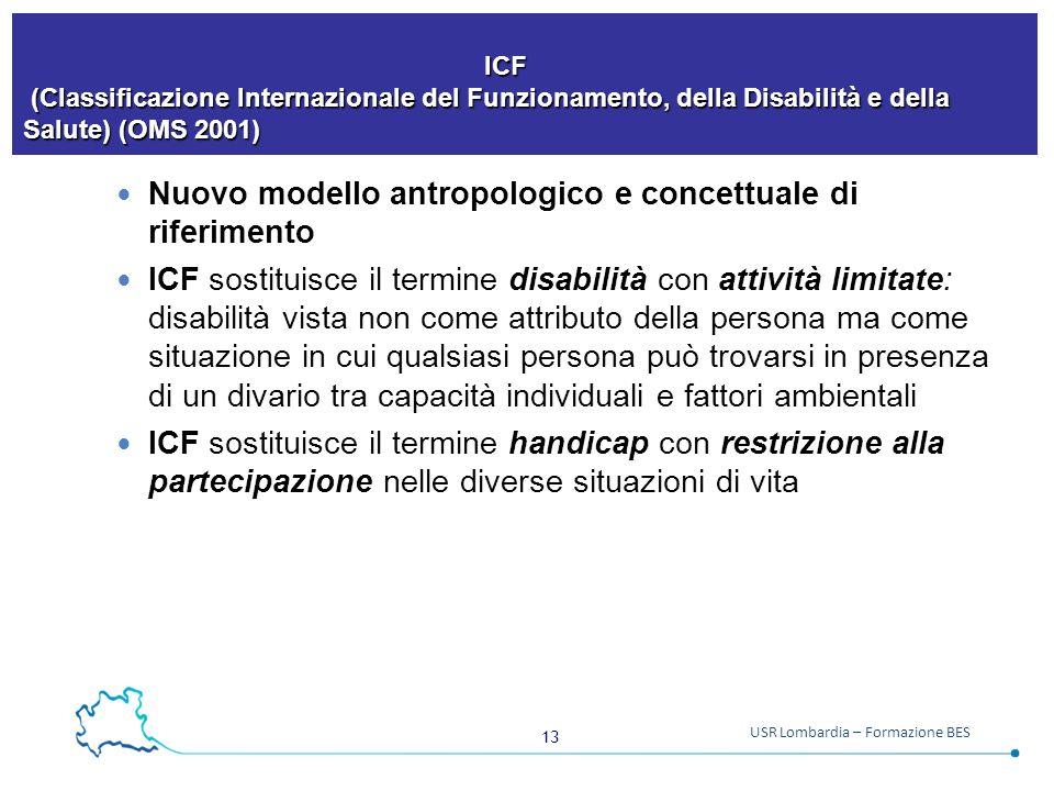 13 USR Lombardia – Formazione BES ICF (Classificazione Internazionale del Funzionamento, della Disabilità e della Salute) (OMS 2001) ICF (Classificazi