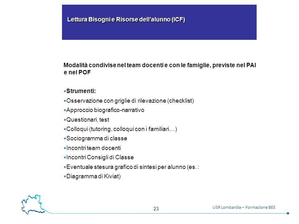23 USR Lombardia – Formazione BES Lettura Bisogni e Risorse dell'alunno (ICF) Lettura Bisogni e Risorse dell'alunno (ICF) Modalità condivise nel team