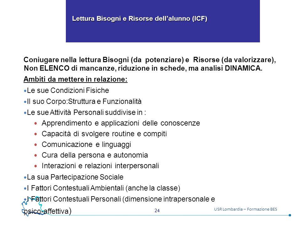 24 USR Lombardia – Formazione BES Lettura Bisogni e Risorse dell'alunno (ICF) Lettura Bisogni e Risorse dell'alunno (ICF) Coniugare nella lettura Biso