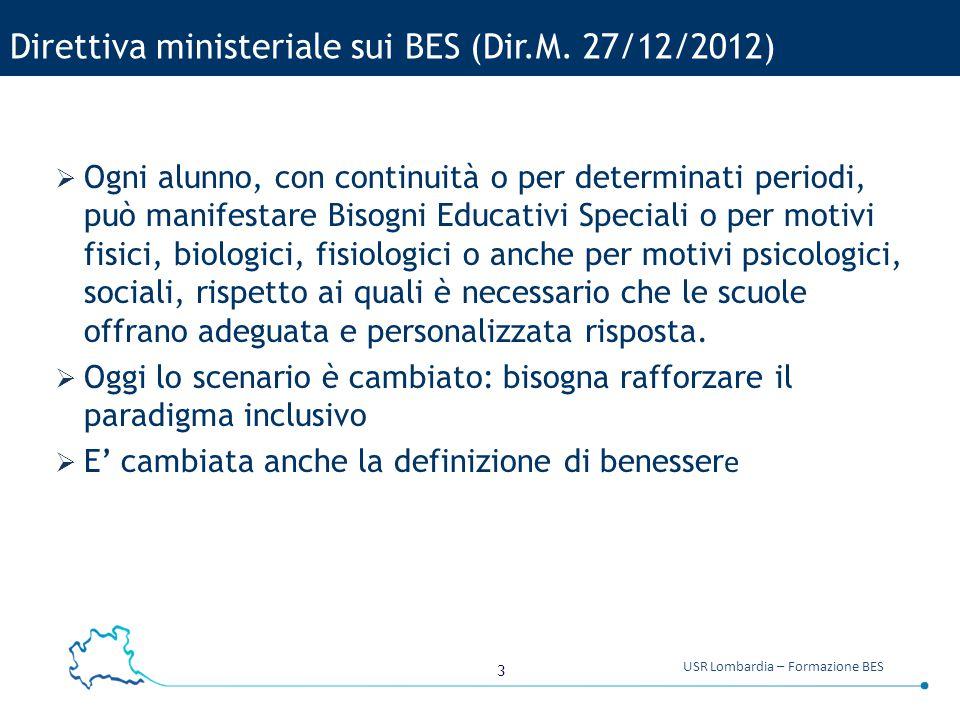 3 USR Lombardia – Formazione BES Direttiva ministeriale sui BES (Dir.M. 27/12/2012)  Ogni alunno, con continuità o per determinati periodi, può manif