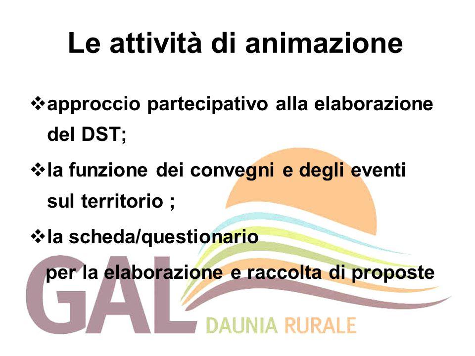 Le attività di animazione  approccio partecipativo alla elaborazione del DST;  la funzione dei convegni e degli eventi sul territorio ;  la scheda/questionario per la elaborazione e raccolta di proposte