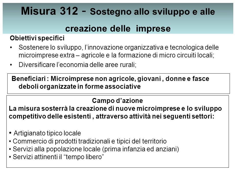 Misura 312 - Sostegno allo sviluppo e alle creazione delle imprese Obiettivi specifici Sostenere lo sviluppo, l'innovazione organizzativa e tecnologic