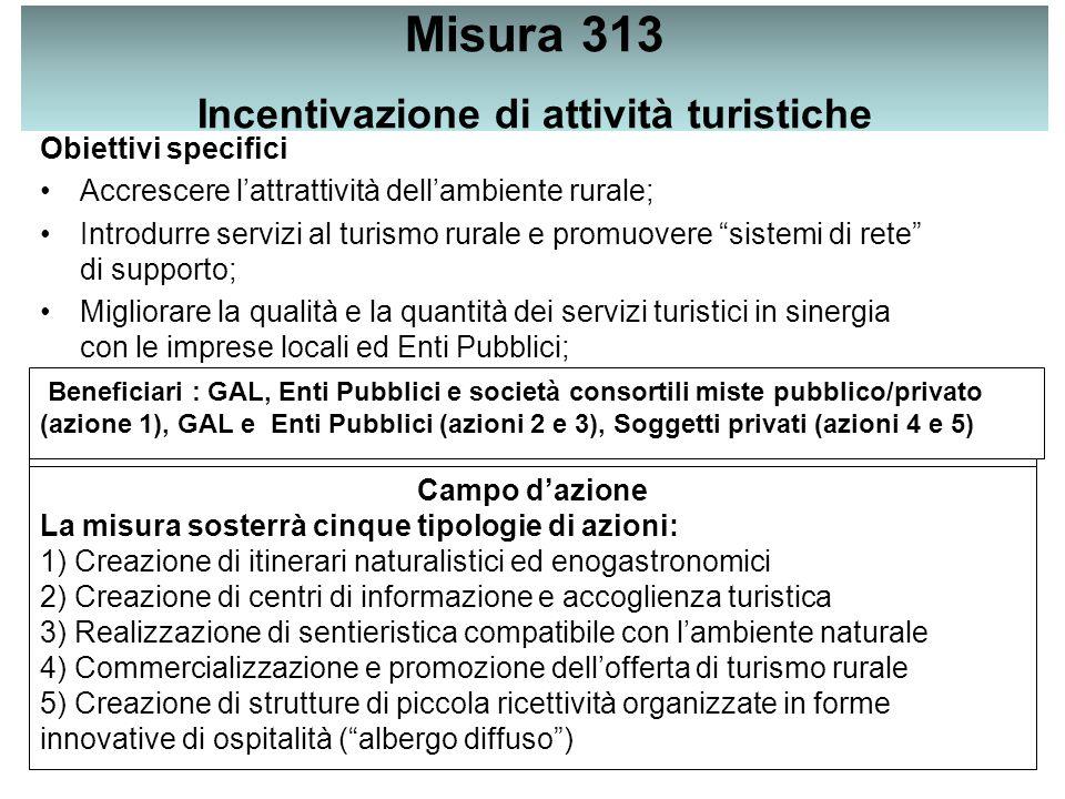 Misura 313 Incentivazione di attività turistiche Obiettivi specifici Accrescere l'attrattività dell'ambiente rurale; Introdurre servizi al turismo rurale e promuovere sistemi di rete di supporto; Migliorare la qualità e la quantità dei servizi turistici in sinergia con le imprese locali ed Enti Pubblici; Beneficiari : GAL, Enti Pubblici e società consortili miste pubblico/privato (azione 1), GAL e Enti Pubblici (azioni 2 e 3), Soggetti privati (azioni 4 e 5) Campo d'azione La misura sosterrà cinque tipologie di azioni: 1) Creazione di itinerari naturalistici ed enogastronomici 2) Creazione di centri di informazione e accoglienza turistica 3) Realizzazione di sentieristica compatibile con l'ambiente naturale 4) Commercializzazione e promozione dell'offerta di turismo rurale 5) Creazione di strutture di piccola ricettività organizzate in forme innovative di ospitalità ( albergo diffuso )