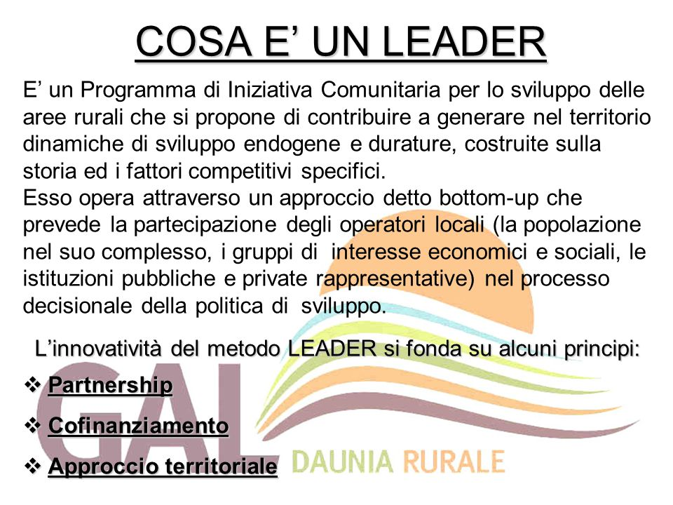 COSA E' UN LEADER E' un Programma di Iniziativa Comunitaria per lo sviluppo delle aree rurali che si propone di contribuire a generare nel territorio dinamiche di sviluppo endogene e durature, costruite sulla storia ed i fattori competitivi specifici.