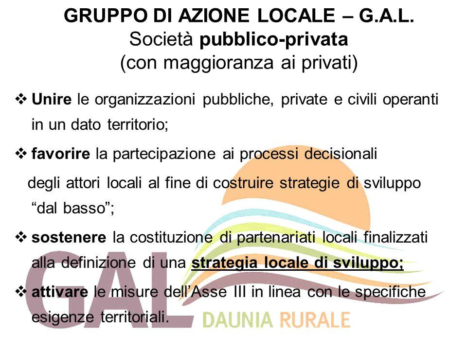 GRUPPO DI AZIONE LOCALE – G.A.L. Società pubblico-privata (con maggioranza ai privati)  Unire le organizzazioni pubbliche, private e civili operanti