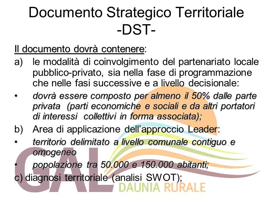 Documento Strategico Territoriale -DST- Il documento dovrà contenere Il documento dovrà contenere: a)le modalità di coinvolgimento del partenariato lo