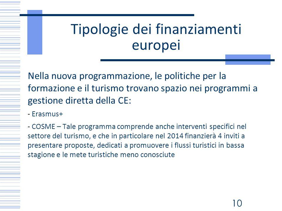 10 Tipologie dei finanziamenti europei Nella nuova programmazione, le politiche per la formazione e il turismo trovano spazio nei programmi a gestione