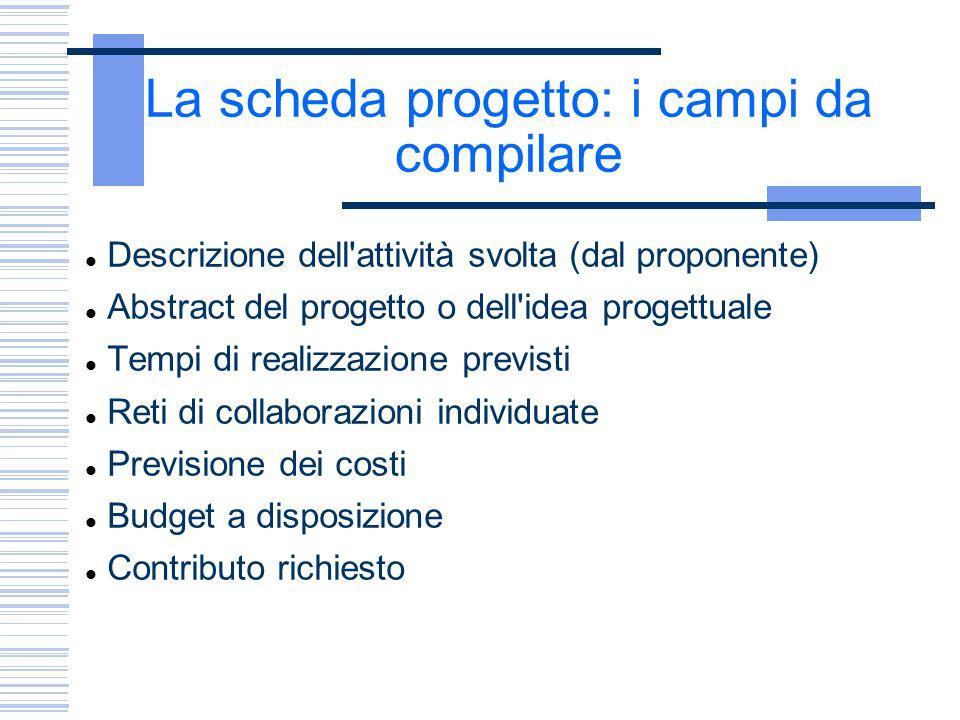 La scheda progetto: i campi da compilare Descrizione dell'attività svolta (dal proponente) Abstract del progetto o dell'idea progettuale Tempi di real