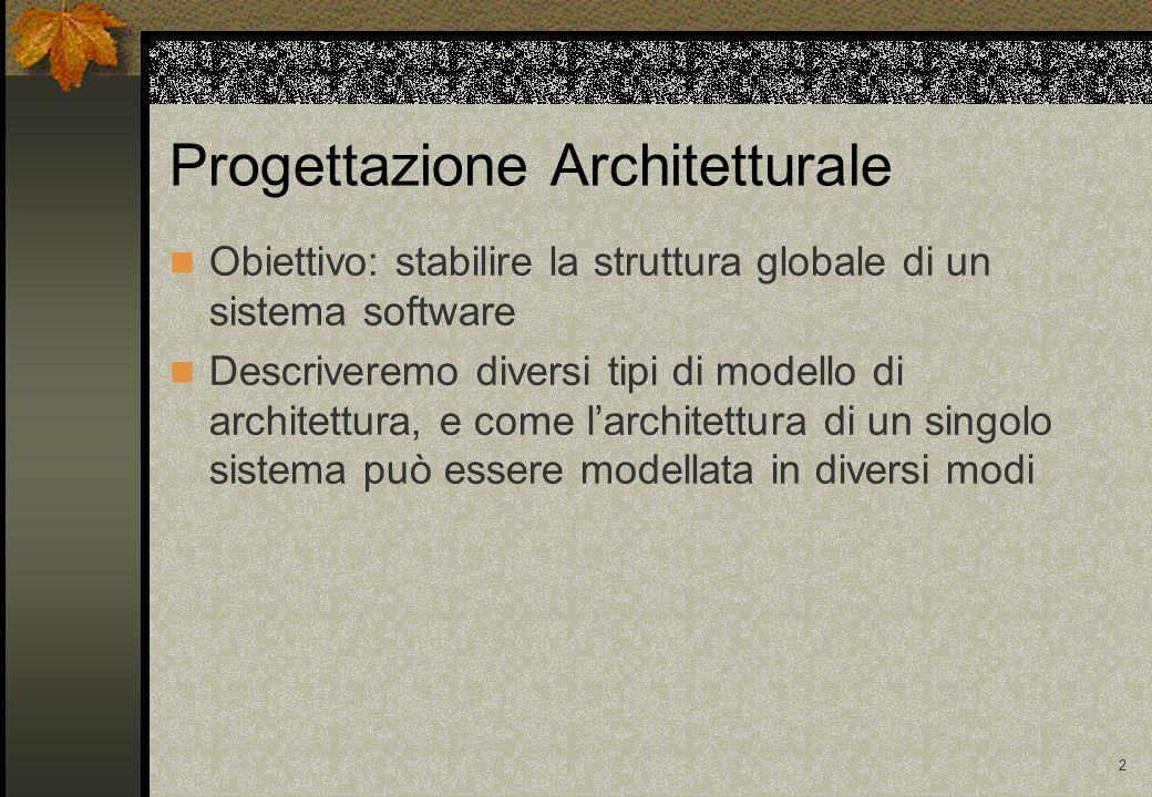 2 Obiettivo: stabilire la struttura globale di un sistema software Descriveremo diversi tipi di modello di architettura, e come l'architettura di un singolo sistema può essere modellata in diversi modi