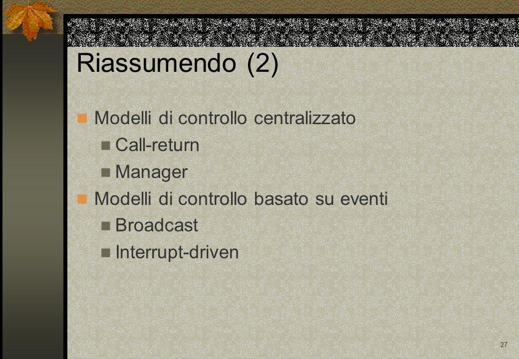 27 Riassumendo (2) Modelli di controllo centralizzato Call-return Manager Modelli di controllo basato su eventi Broadcast Interrupt-driven