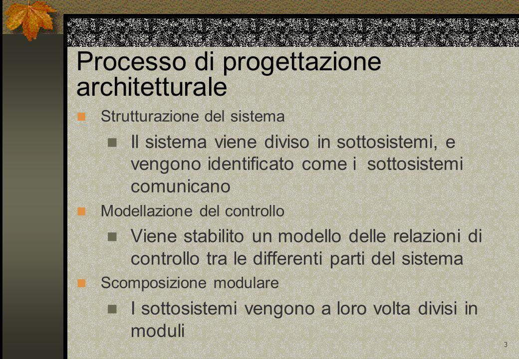 3 Processo di progettazione architetturale Strutturazione del sistema Il sistema viene diviso in sottosistemi, e vengono identificato come i sottosistemi comunicano Modellazione del controllo Viene stabilito un modello delle relazioni di controllo tra le differenti parti del sistema Scomposizione modulare I sottosistemi vengono a loro volta divisi in moduli