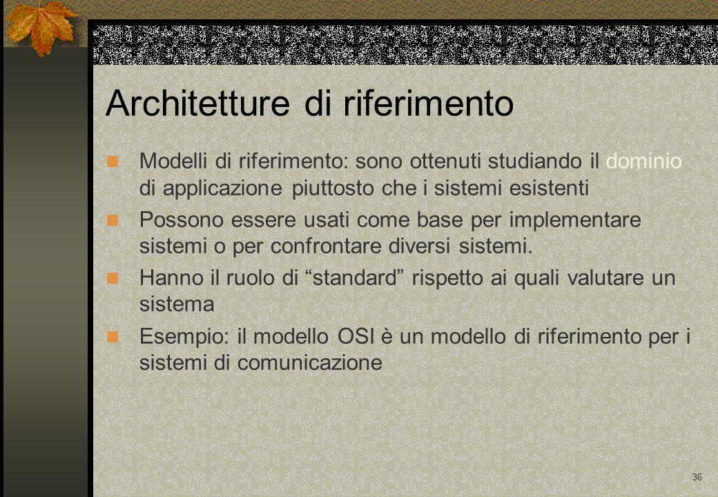 36 Architetture di riferimento Modelli di riferimento: sono ottenuti studiando il dominio di applicazione piuttosto che i sistemi esistenti Possono essere usati come base per implementare sistemi o per confrontare diversi sistemi.