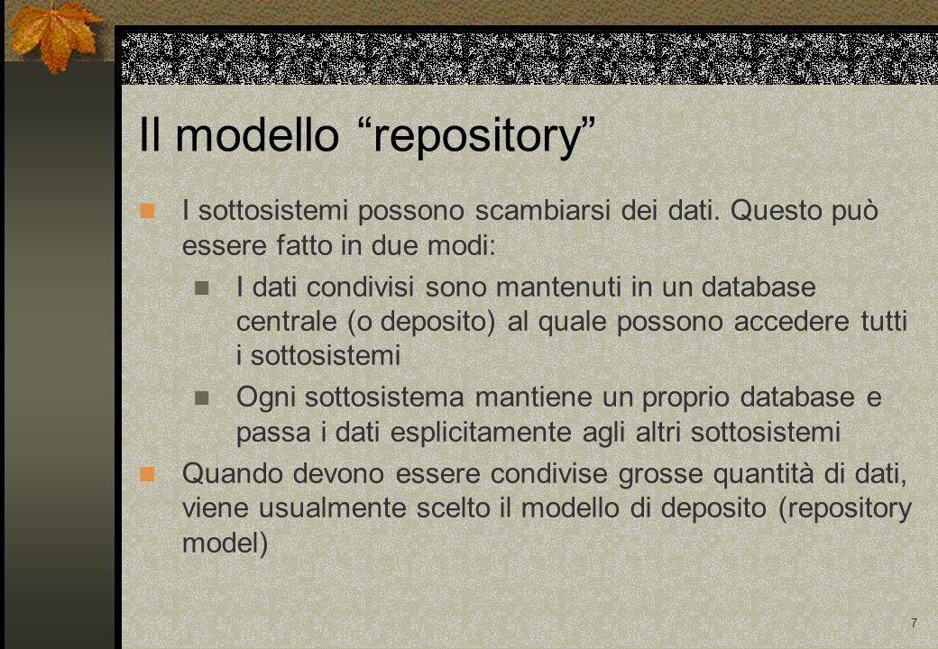 18 Riassumendo (1) Modelli di struttura di un sistema: Repository Client-server Macchina astratta