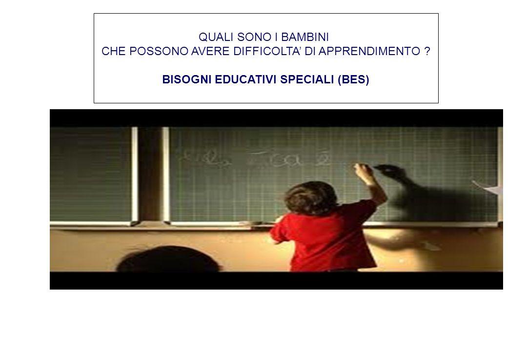 QUALI SONO I BAMBINI CHE POSSONO AVERE DIFFICOLTA' DI APPRENDIMENTO ? BISOGNI EDUCATIVI SPECIALI (BES)