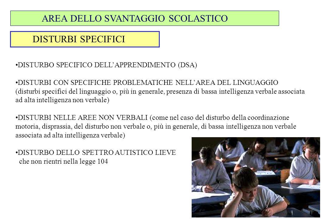 DISTURBI SPECIFICI AREA DELLO SVANTAGGIO SCOLASTICO DISTURBO SPECIFICO DELL'APPRENDIMENTO (DSA) DISTURBI CON SPECIFICHE PROBLEMATICHE NELL'AREA DEL LI