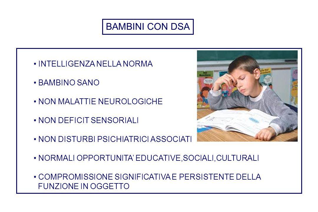 INTELLIGENZA NELLA NORMA BAMBINO SANO NON MALATTIE NEUROLOGICHE NON DEFICIT SENSORIALI NON DISTURBI PSICHIATRICI ASSOCIATI NORMALI OPPORTUNITA' EDUCAT