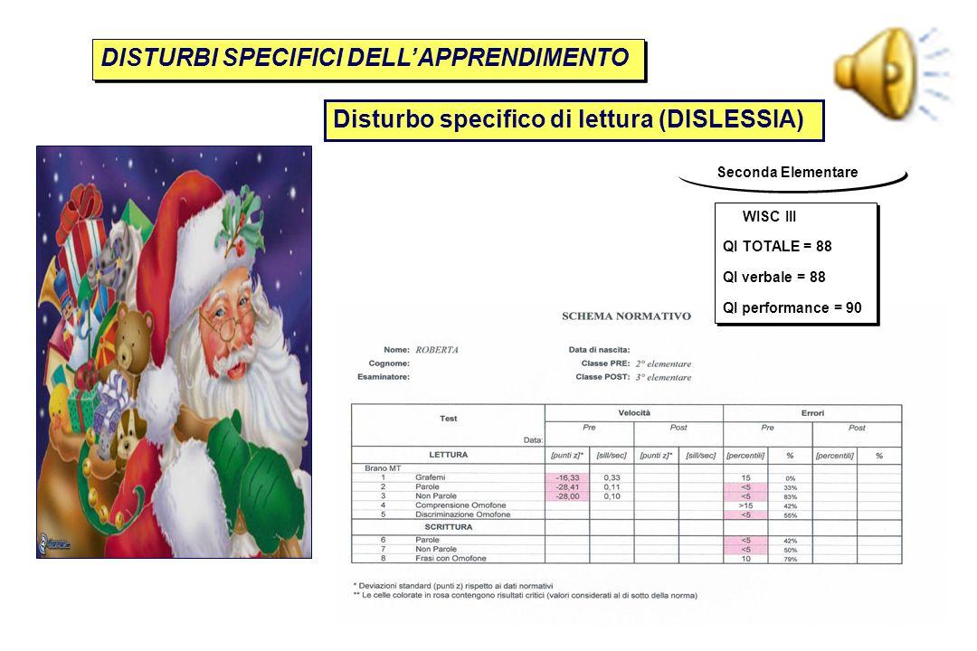 Seconda Elementare Disturbo specifico di lettura (DISLESSIA) DISTURBI SPECIFICI DELL'APPRENDIMENTO WISC III QI TOTALE = 88 QI verbale = 88 QI performa