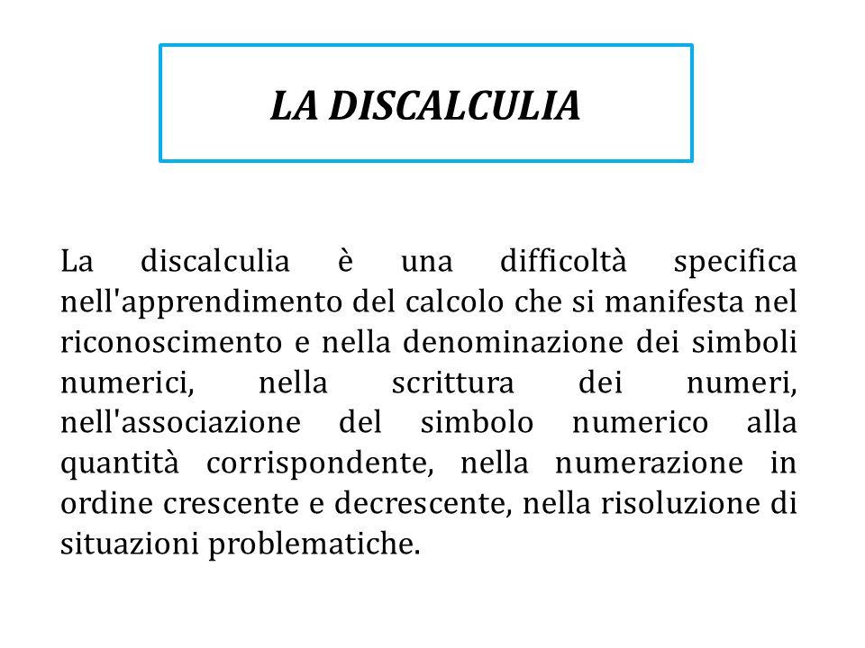 La discalculia è una difficoltà specifica nell'apprendimento del calcolo che si manifesta nel riconoscimento e nella denominazione dei simboli numeric