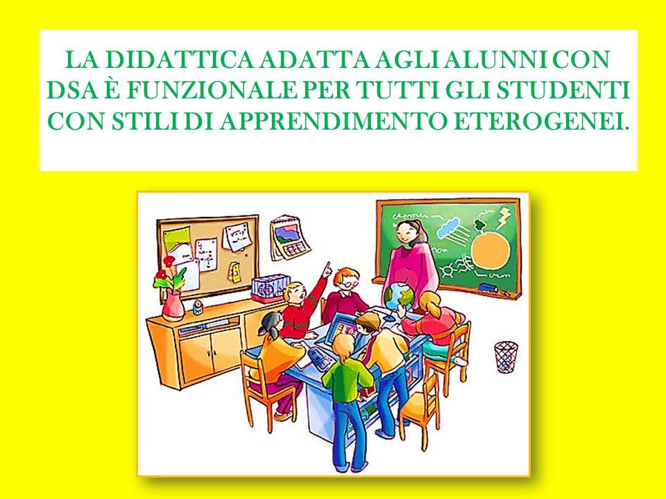 LA DIDATTICA ADATTA AGLI ALUNNI CON DSA È FUNZIONALE PER TUTTI GLI STUDENTI CON STILI DI APPRENDIMENTO ETEROGENEI.