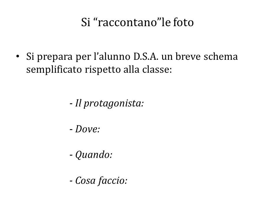 """Si """"raccontano""""le foto Si prepara per l'alunno D.S.A. un breve schema semplificato rispetto alla classe: - Il protagonista: - Dove: - Quando: - Cosa f"""