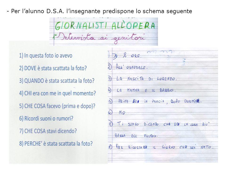 - Per l'alunno D.S.A. l'insegnante predispone lo schema seguente
