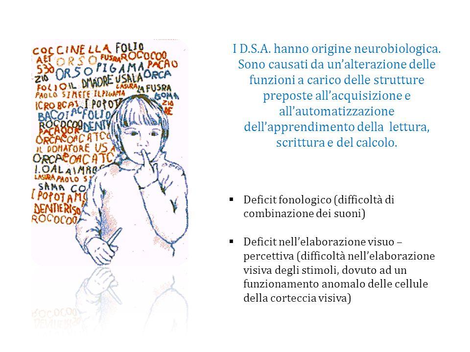I D.S.A. hanno origine neurobiologica. Sono causati da un'alterazione delle funzioni a carico delle strutture preposte all'acquisizione e all'automati