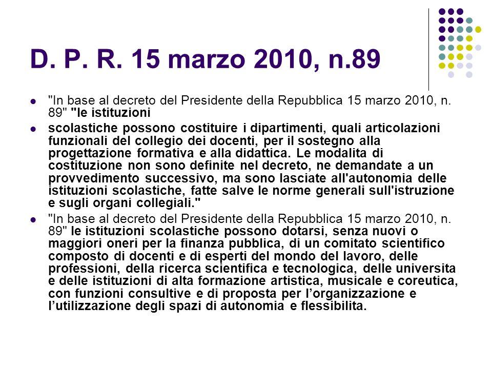D.P. R. 15 marzo 2010, n.89 In base al decreto del Presidente della Repubblica 15 marzo 2010, n.
