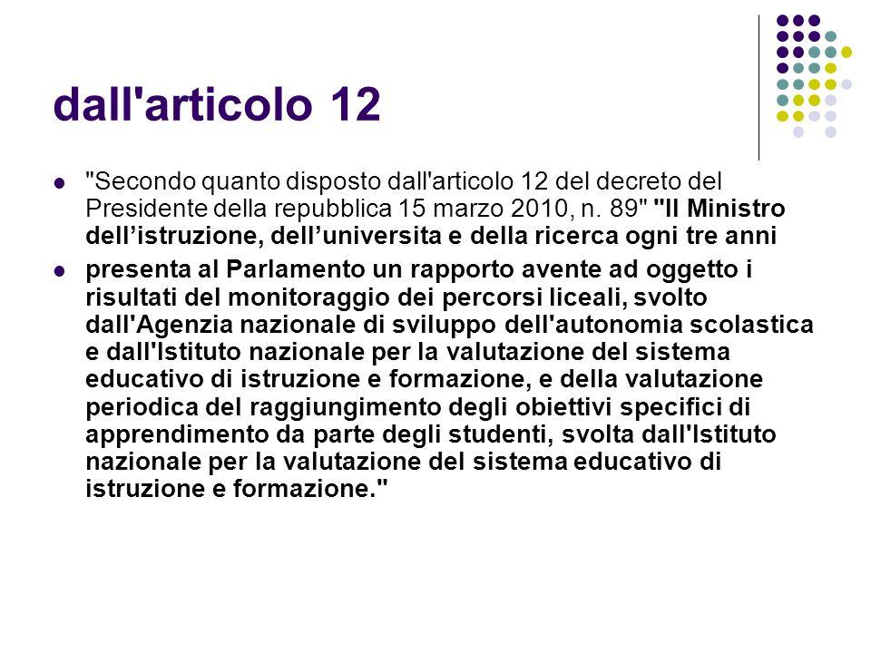 dall articolo 12 Secondo quanto disposto dall articolo 12 del decreto del Presidente della repubblica 15 marzo 2010, n.
