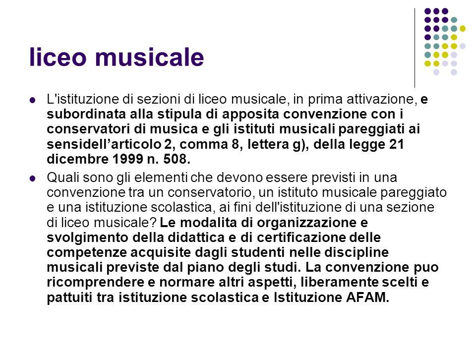liceo musicale L istituzione di sezioni di liceo musicale, in prima attivazione, e subordinata alla stipula di apposita convenzione con i conservatori di musica e gli istituti musicali pareggiati ai sensidell'articolo 2, comma 8, lettera g), della legge 21 dicembre 1999 n.
