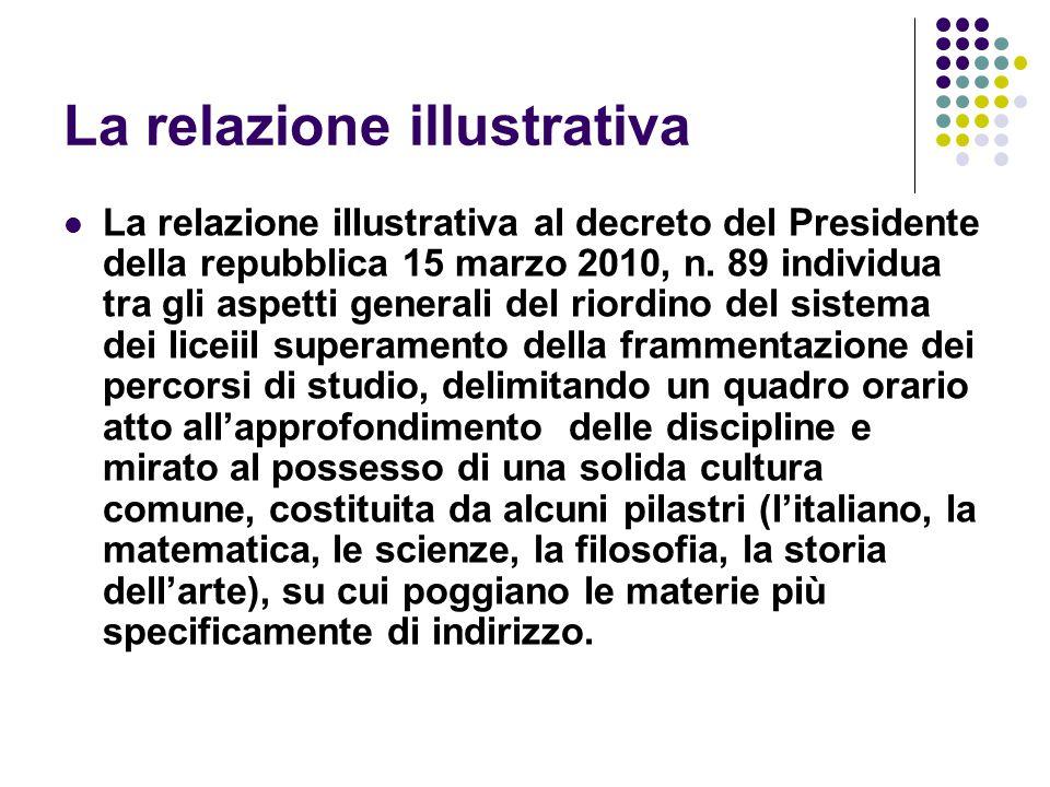 La relazione illustrativa La relazione illustrativa al decreto del Presidente della repubblica 15 marzo 2010, n.