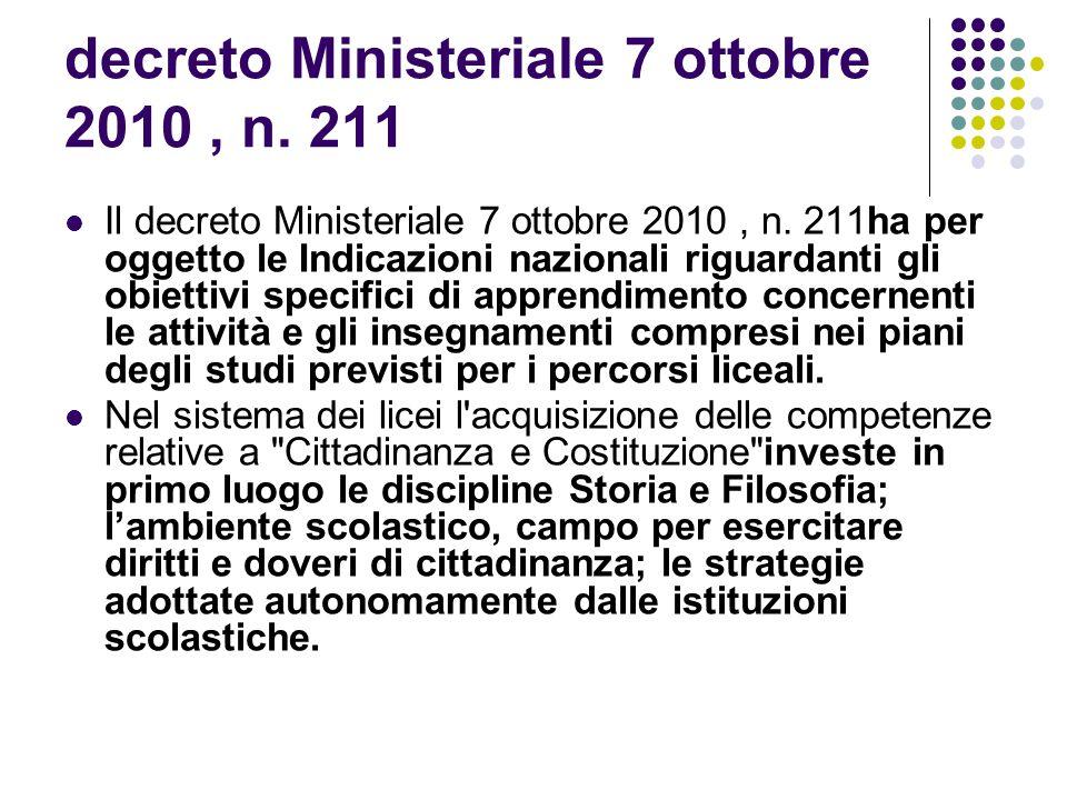 decreto Ministeriale 7 ottobre 2010, n.211 Il decreto Ministeriale 7 ottobre 2010, n.