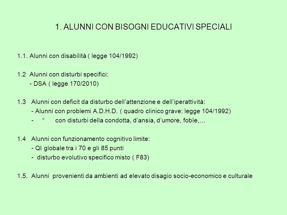 1. ALUNNI CON BISOGNI EDUCATIVI SPECIALI 1.1.