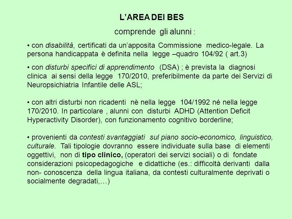L'AREA DEI BES comprende gli alunni : con disabilità, certificati da un'apposita Commissione medico-legale.