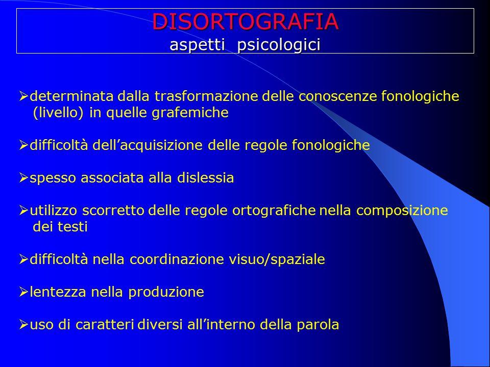 DISORTOGRAFIA aspetti psicologici  determinata dalla trasformazione delle conoscenze fonologiche (livello) in quelle grafemiche  difficoltà dell'acq