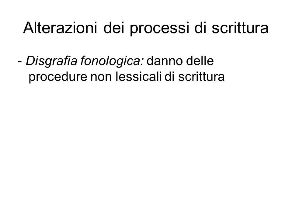 Alterazioni dei processi di scrittura - Disgrafia fonologica: danno delle procedure non lessicali di scrittura
