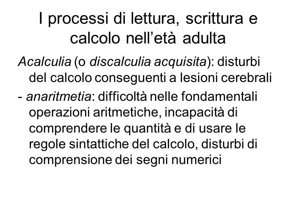 I processi di lettura, scrittura e calcolo nell'età adulta Acalculia (o discalculia acquisita): disturbi del calcolo conseguenti a lesioni cerebrali -