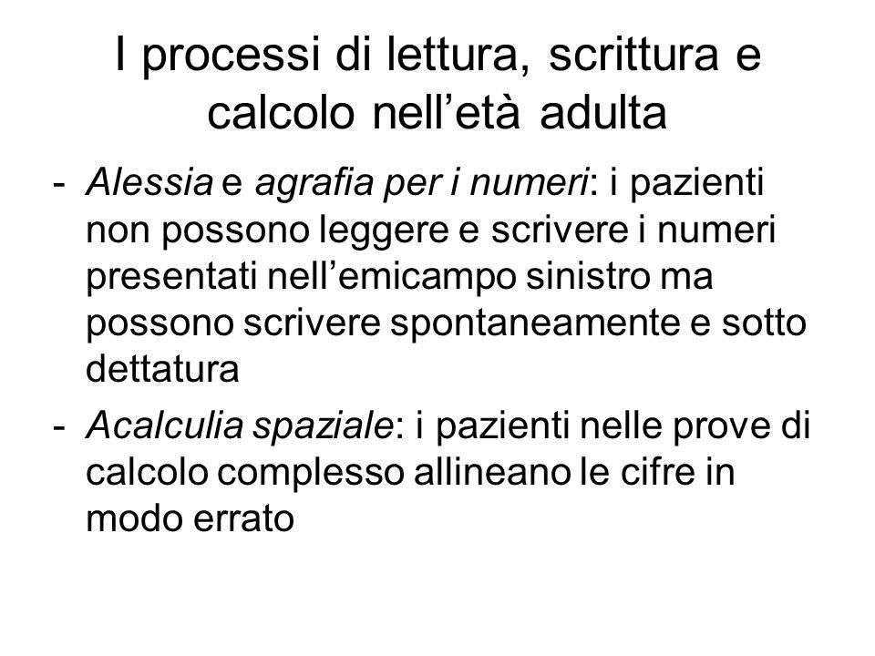 I processi di lettura, scrittura e calcolo nell'età adulta -Alessia e agrafia per i numeri: i pazienti non possono leggere e scrivere i numeri present