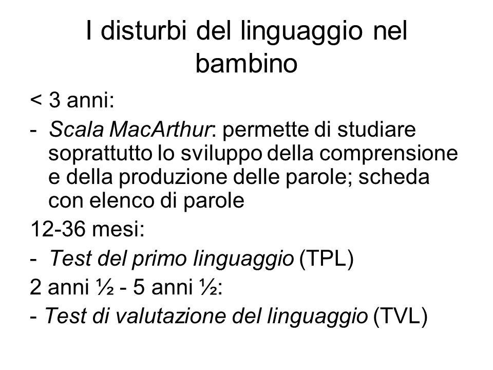I disturbi del linguaggio nel bambino < 3 anni: -Scala MacArthur: permette di studiare soprattutto lo sviluppo della comprensione e della produzione d