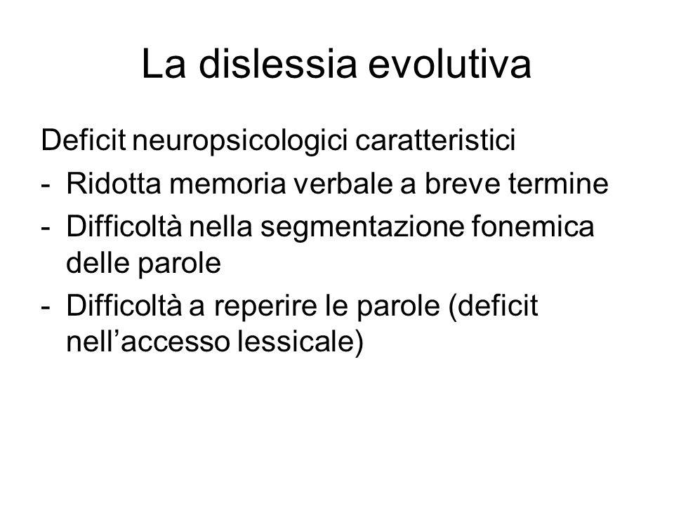 La dislessia evolutiva Deficit neuropsicologici caratteristici -Ridotta memoria verbale a breve termine -Difficoltà nella segmentazione fonemica delle