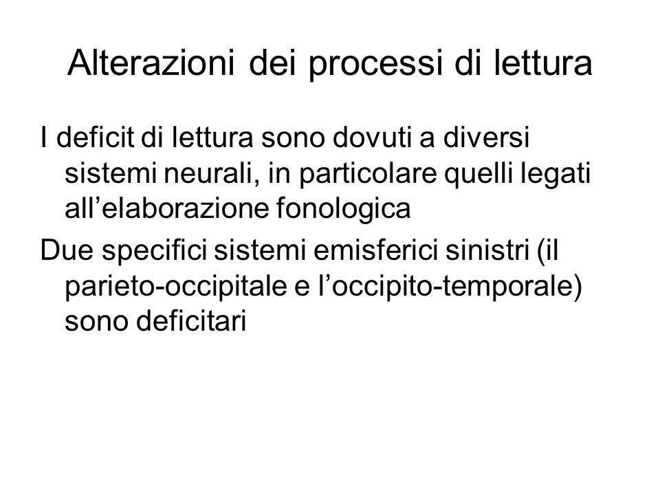Alterazioni dei processi di lettura I deficit di lettura sono dovuti a diversi sistemi neurali, in particolare quelli legati all'elaborazione fonologi