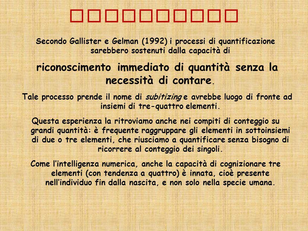 SUBITIZING Secondo Gallister e Gelman (1992) i processi di quantificazione sarebbero sostenuti dalla capacità di riconoscimento immediato di quantità